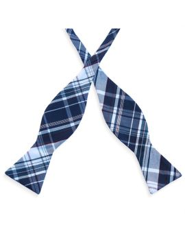 Navy Blue & White Tartan Self Tie Bow Tie