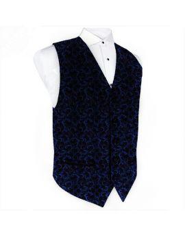 Navy Blue Floral & Black Waistcoat Vest