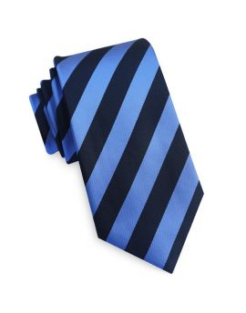 Navy Blue and Mid Blue Stripes Mens Necktie