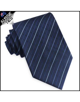 Dark Blue & White Diamond Grids Mens Tie