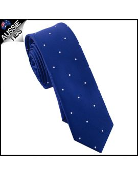 Navy Blue Pin Dot Mens Skinny Necktie