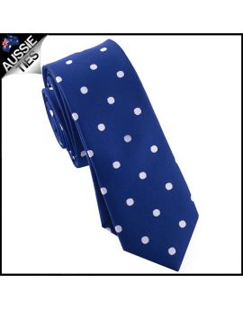 Navy Blue Polka Dot Mens Skinny Necktie