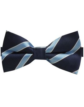 Navy Blue with Sky Blue Stripes Bow Tie