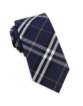 Navy Blue, Black, White & Gold Tartan Slim Tie