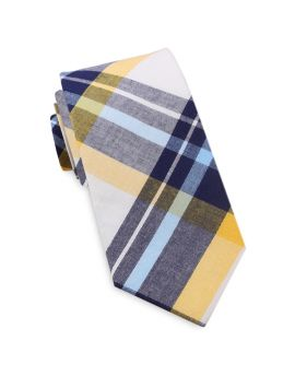 Navy Blue, Yellow & White Tartan Plaid Slim Tie