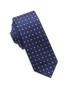 Navy with Pink and White Diamonds Mens Skinny Tie