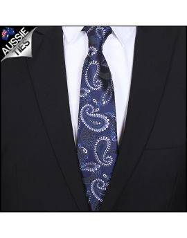Navy with White Paisley Mens Tie