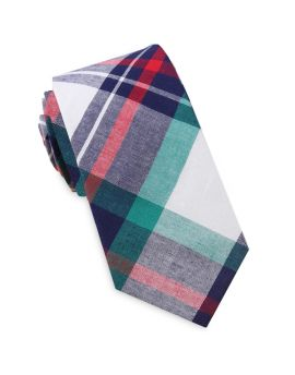 Navy, Green, Red & White Tartan Slim Tie