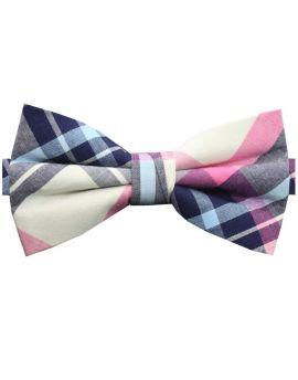 Navy, Light Blue, Pink & White Tartan Plaid Bow Tie