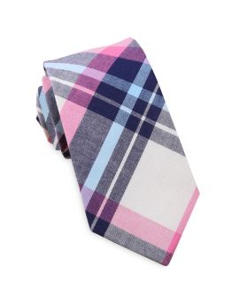 Navy, Light Blue, Pink & White Tartan Slim Tie