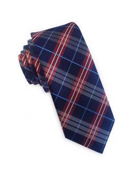 Dark Blue with Red & White Tartan Skinny Tie