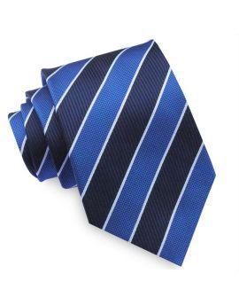 Navy, Royal Blue & White Stripes Mens Tie