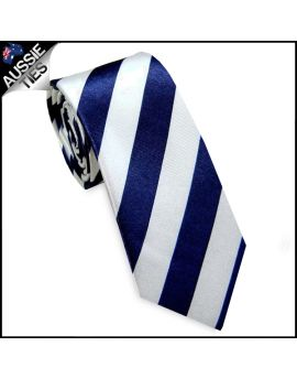 Navy Blue and White Men's Striped Satin Skinny Tie
