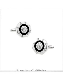 Octagonal Silver with Gem Studs Cufflinks