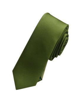 Mens Olive Green Skinny Tie