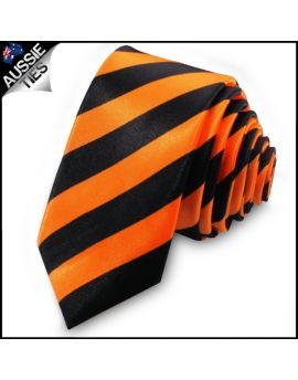 Orange & Black Men's Striped Skinny Tie