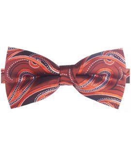 Orange, Black & White Paisley Bow Tie