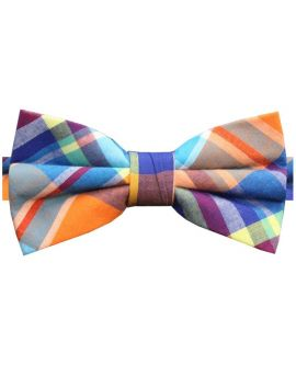 Orange, Light Blue, Yellow & Purple Tartan Bow Tie