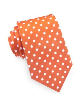 orange polka dot men's tie