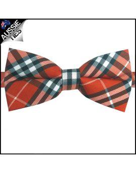 Orange Black and White Plaid Bow Tie