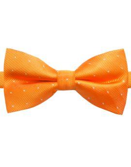 orange with polka dots bow tie