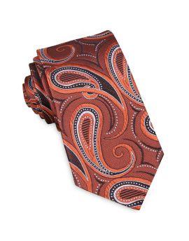 Orange, Black & White Paisley Slim Tie