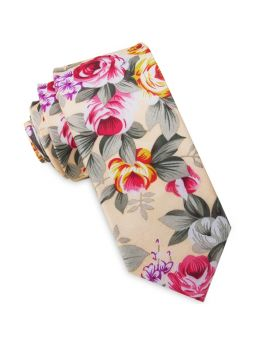 Pale Peach with Floral Men's Slim Tie