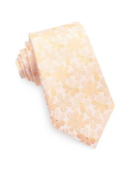Peach with Floral Pattern Men's Slim Tie
