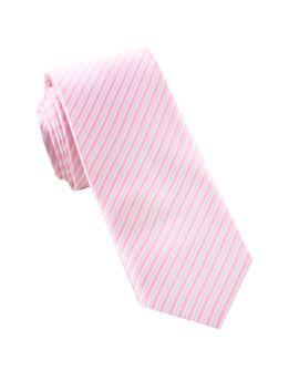 White & Baby Pink Thin Stripes Mens Tie