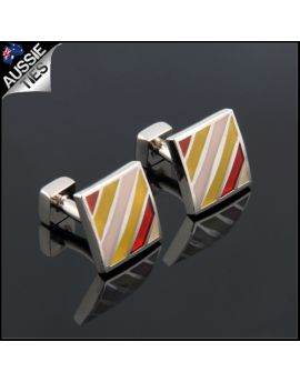 Mens Pink, Red & Yellow Stripes Cufflinks