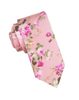 Pink with Floral Pattern Men's Skinny Tie
