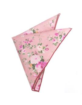 pink with pink and apricot floral pattern handkerchief