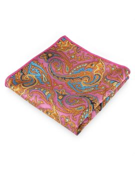 Pink with Orange and Blue Floral Pocket Square
