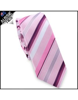 Pink with Purple and Maroon Stripes Skinny Tie