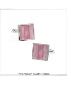 Pink Zigzag Textured Stripes Cufflinks