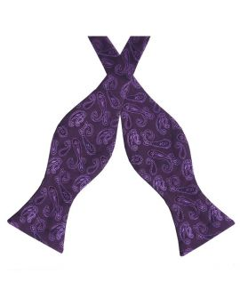 Plum Purple Paisley Self Tie Bow Tie