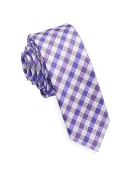 Purple & White Check Plaid Skinny Tie