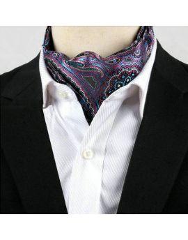 Men's Purple & Blue Paisley Ascot Cravat