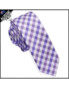 Purple & White Check Plaid Skinny Tie