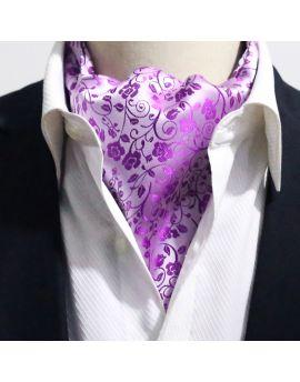 Lilac Purple Floral Ascot Cravat