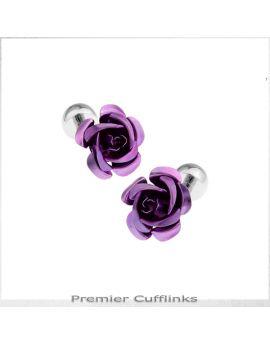 Purple Floral Stud Cufflinks