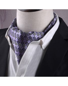 Purple, Black & White Greek Key Ascot Cravat