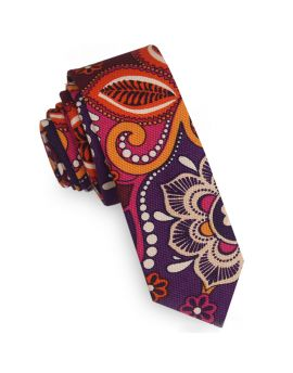 Purple Orange Pink and Cream Floral Skinny Tie