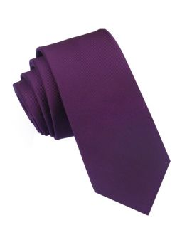 Plum Grape Purple Ribbed 6cm Mens Slim Tie