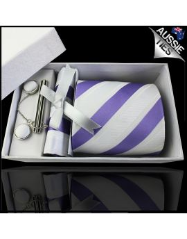 Purple, White & Ivory Stripes Tie Set