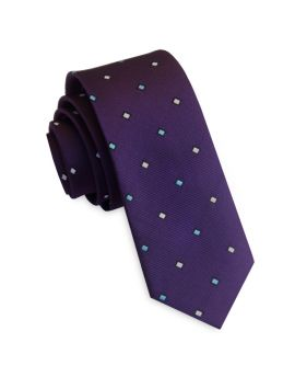 Purple with Blue & White Rectangles Men's Slim Tie
