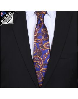 Purple with Gold Paisley Mens Tie