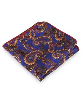 Purple with Gold Paisley Pocket Square