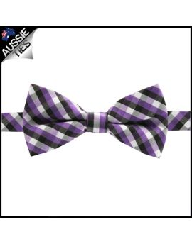 Boys Purple, Black and White Check Bow Tie