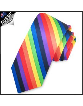 Rainbow Stripes Mens Slim Skinny Tie